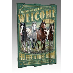 American Mustang Wooden Cabin Sign